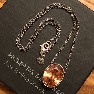 Silpada Sterling & Champagne CZ Pendant Necklace